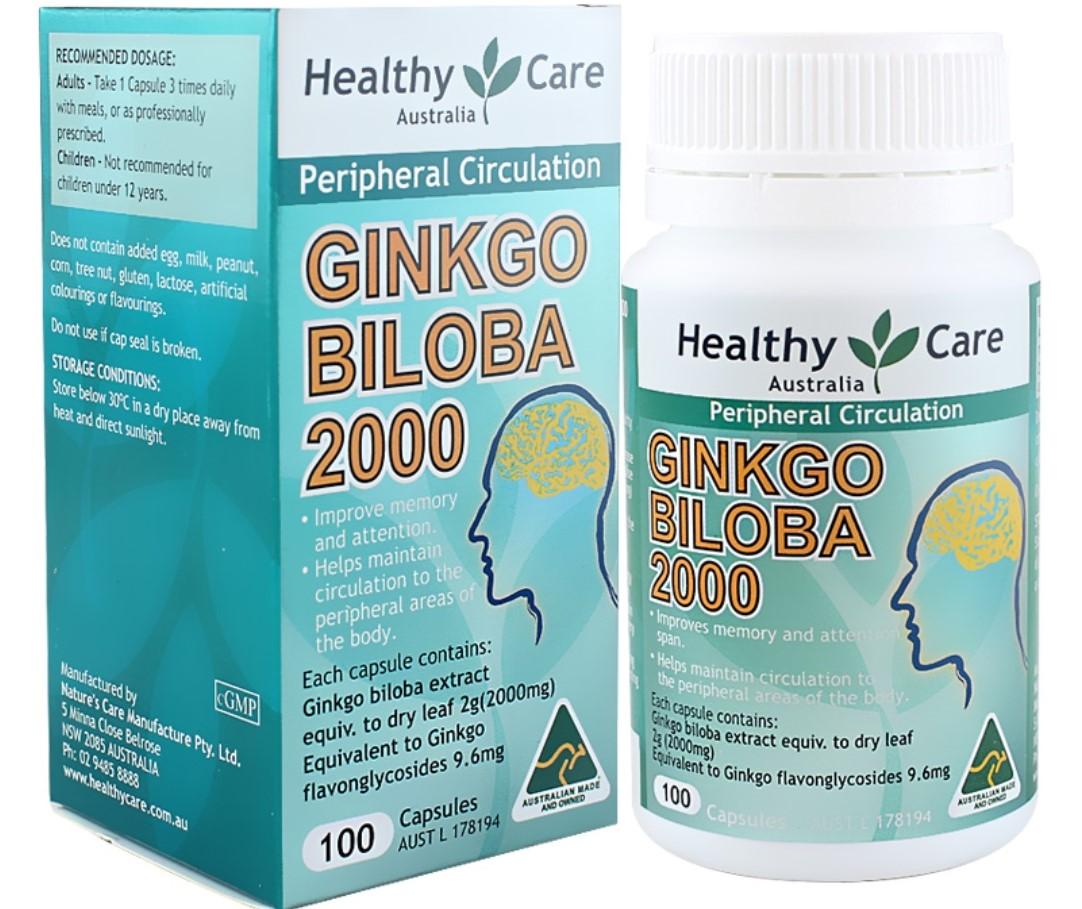 Viên uống bổ não Healthy Care Ginkgo Biloba 2000 - Australia