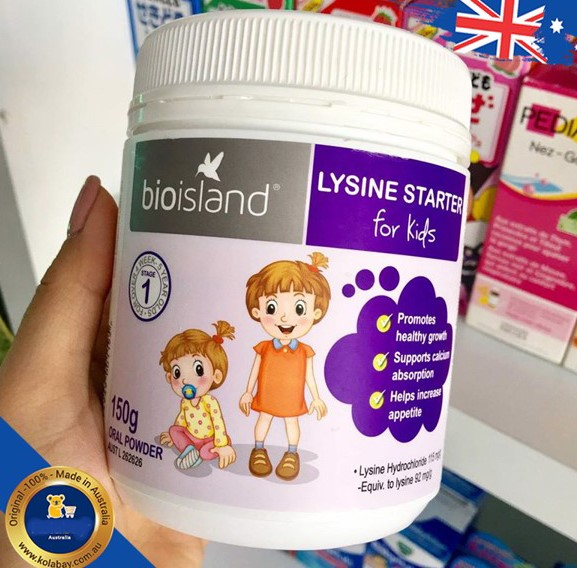 Bột tăng chiều cao Bio Island Lysine Starter for Kids cho trẻ em.